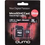 Qumo microSDHC 16Gb Class 10 UHS-I + adp карта памяти