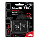 Qumo microSDHC 32Gb Class 10+adp Red карта памяти