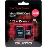 Qumo microSDHC 32Gb Class 10+adp Pink карта памяти